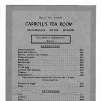 Carroll's Tea Room Menu