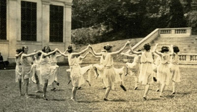 Centennial Pageant: Greek dancers in the amphitheater, 1921